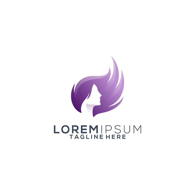 Colorful hair beauty logo Premium Vector