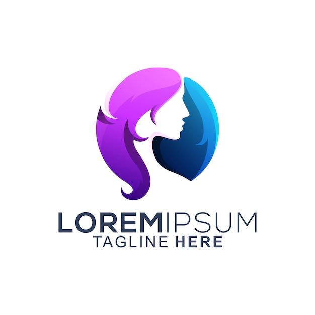Colorful hair woman logo design Premium Vector