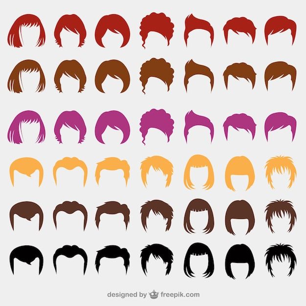 Colorful hairstyles Free Vector