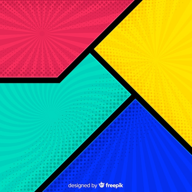 Colorful halftone comic background Free Vector