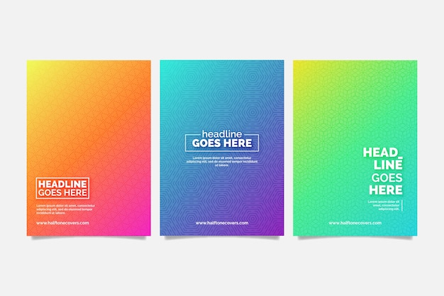 Colorful halftone gradient cover collection Free Vector