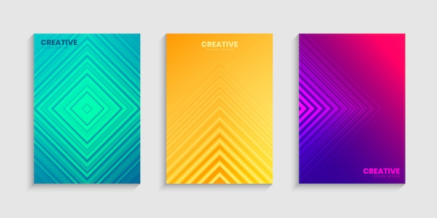 Colorful halftone gradients, minimal cover design template set with gradient background Premium Vector