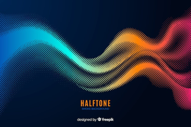 Colorful halftone smoke background Free Vector