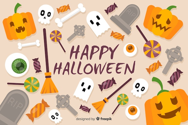 Colorful halloween background on flat design Free Vector