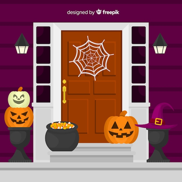 Colorful halloween background with flat design Free Vector