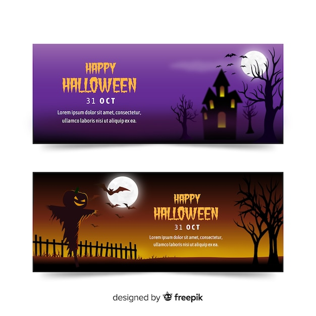 Colorful halloween banners with realistic design Free Vector
