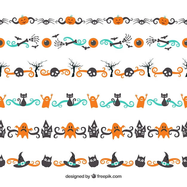 Colorful halloween border pack Vector | Free Download