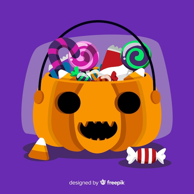 Colorful halloween candy bag background in flat design Free Vector