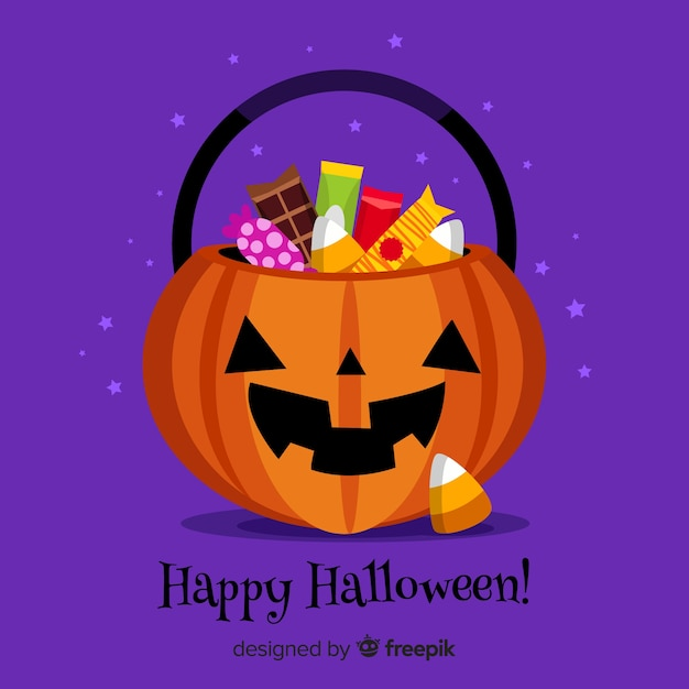 Colorful halloween candy bag with flat design Free Vector