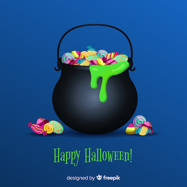 Colorful halloween candy bag with realistic design Free Vector