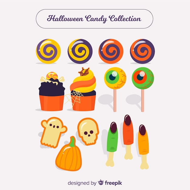 Colorful halloween  candy collection in flat design Free Vector