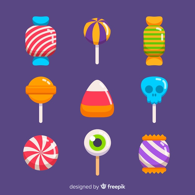 Colorful halloween candy collection with flat design Free Vector