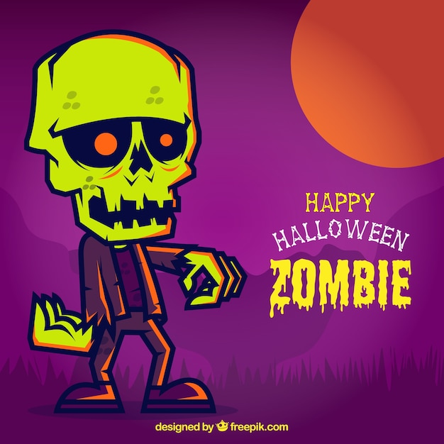 Colorful halloween card with a zombie Free Vector