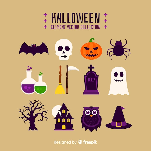 Colorful halloween element collection with flat design Free Vector