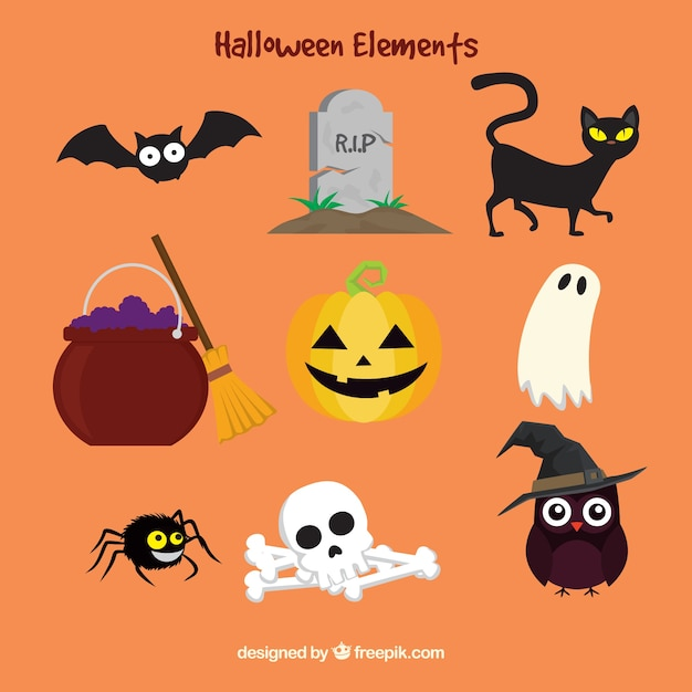 Colorful halloween elements in flat style Free Vector