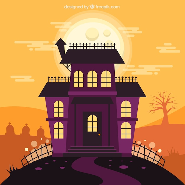 Colorful halloween house with classic style Free Vector