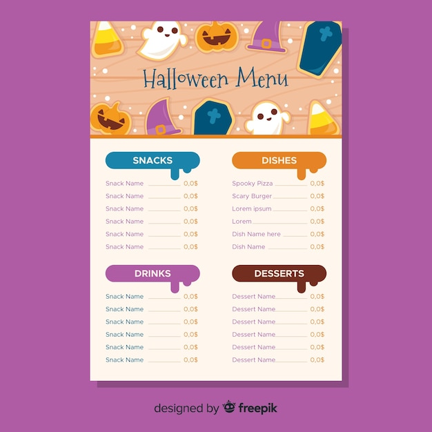 colorful halloween menu template with flat design vector free download
