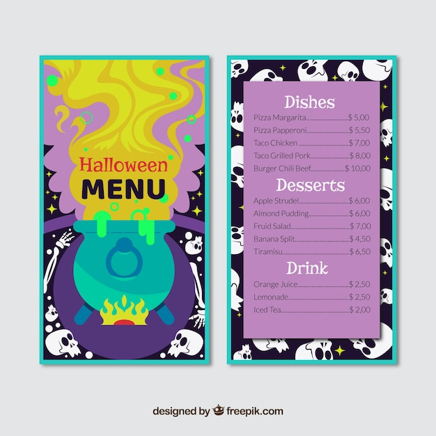 Colorful halloween menu with magic potion