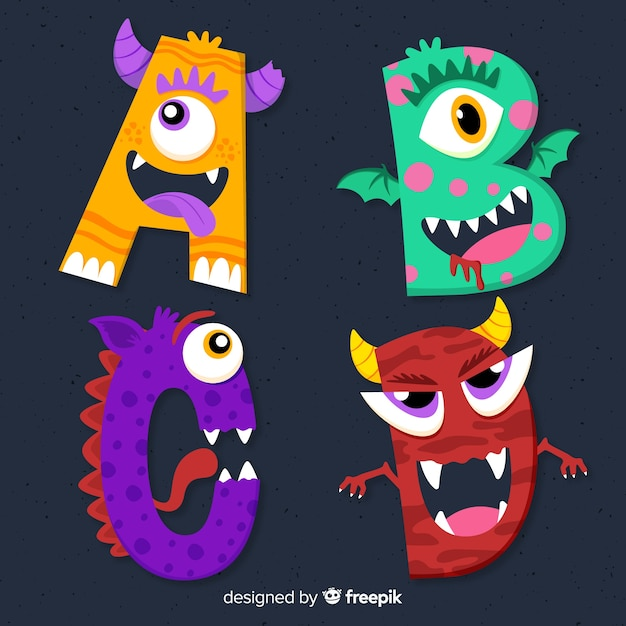 Colorful halloween monster alphabet Free Vector