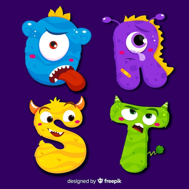 Colorful halloween monster alphabet Free Vector