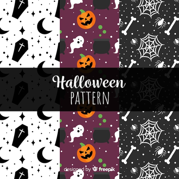 Colorful halloween pattern collection with flat design Free Vector