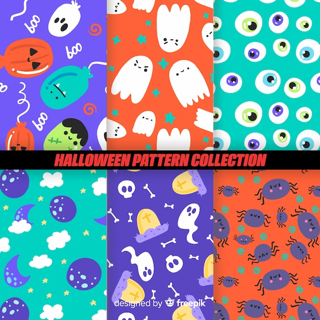 Colorful halloween pattern collection Free Vector