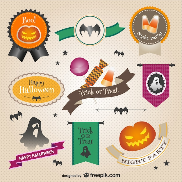 Colorful Halloween stickers