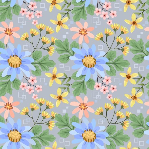 カラフルな手は、布繊維の壁紙のための花のシームレスなパターンを描画します。 Premiumベクター