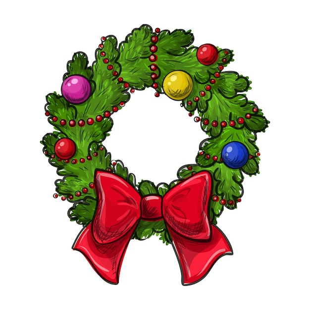 Colorful hand drawing christmas wreath on a white background. Premium Vector