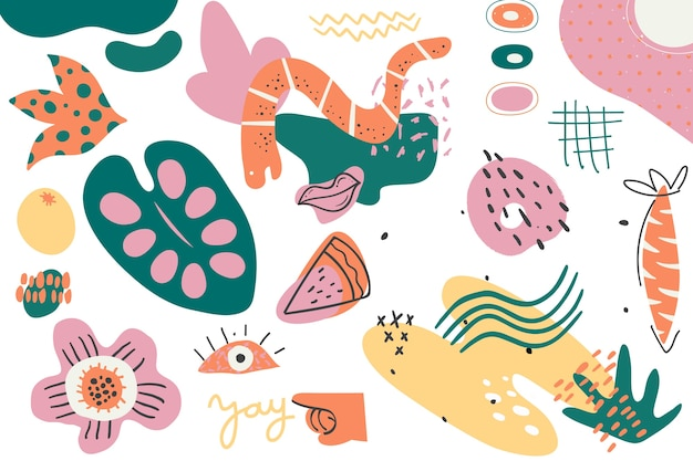 Colorful hand drawn abstract organic shapes background Free Vector