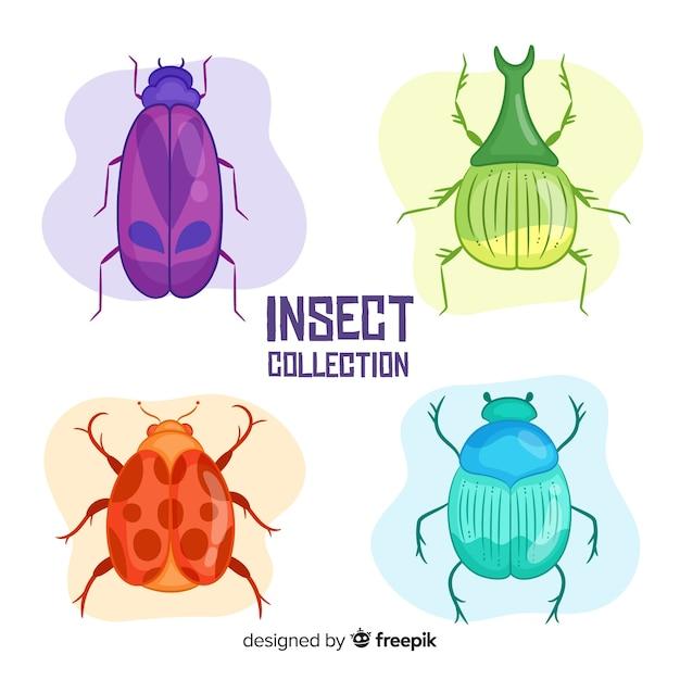 Пакет красочных рисованной жуков Бесплатные векторы