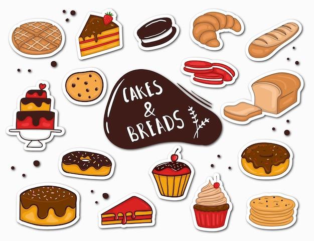 Красочные рисованной хлеб и торт наклейки Premium векторы