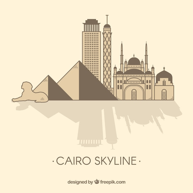 Colorful hand drawn cairo skyline Free Vector