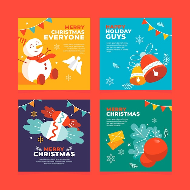 カラフルな手描きのクリスマスカード 無料ベクター