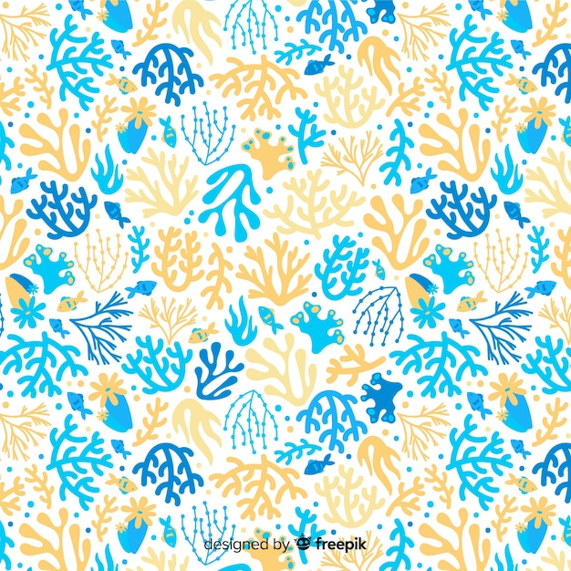 Colorful hand drawn coral pattern Free Vector