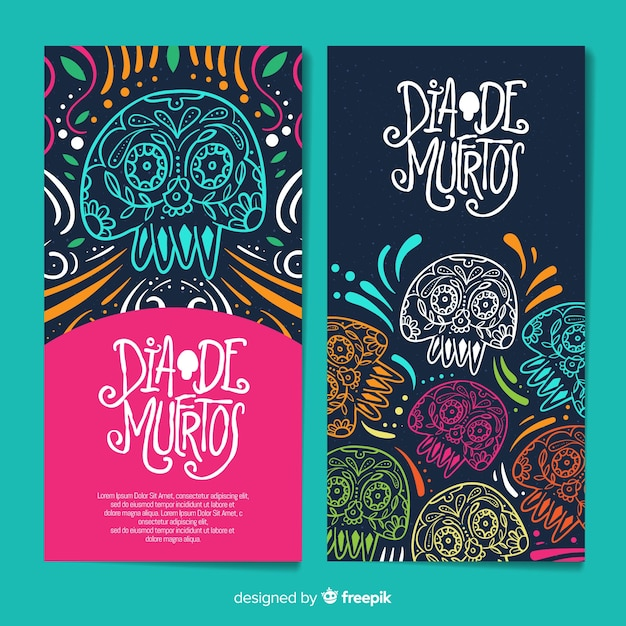 Colorful hand drawn día de muertos banners Free Vector
