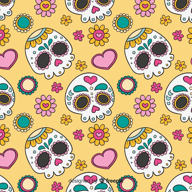 Colorful hand drawn día de muertos pattern collection Free Vector