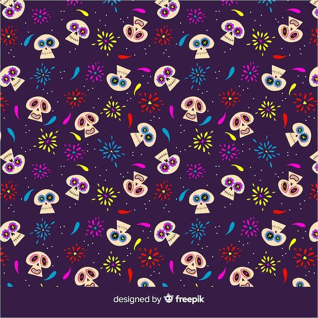 Colorful hand drawn día de muertos pattern collection Free Vector