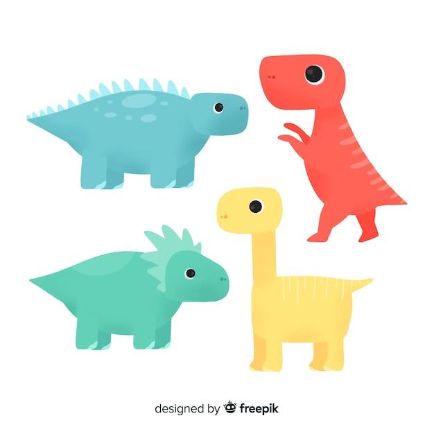 Collezione di dinosauri disegnati a mano colorati Vettore gratuito