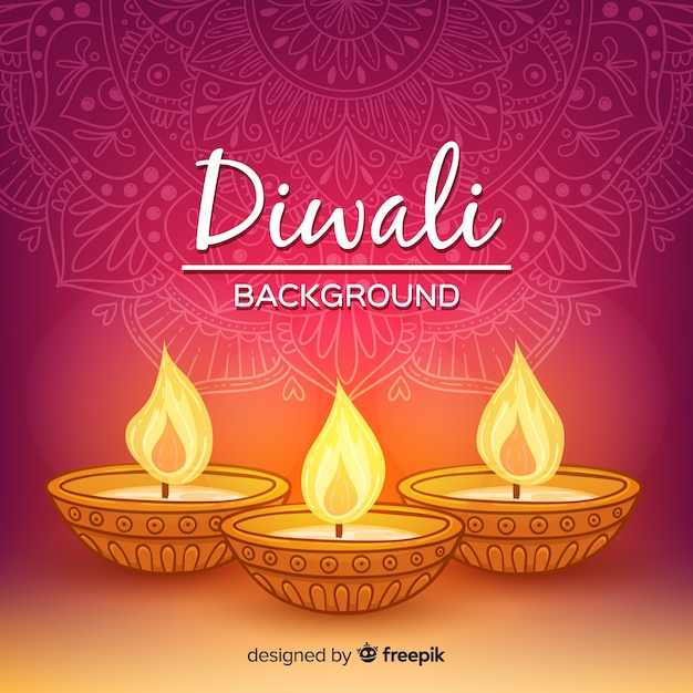 Colorful hand drawn diwali background Free Vector
