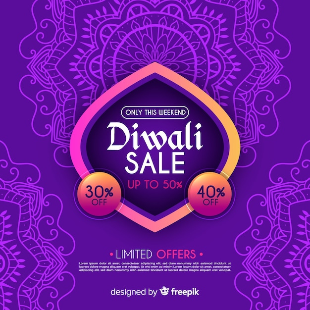 Colorful hand drawn diwali sale composition Free Vector