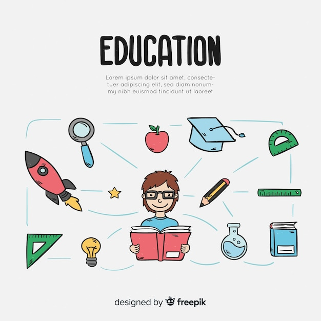 Colorful hand drawn education concept Free Vector