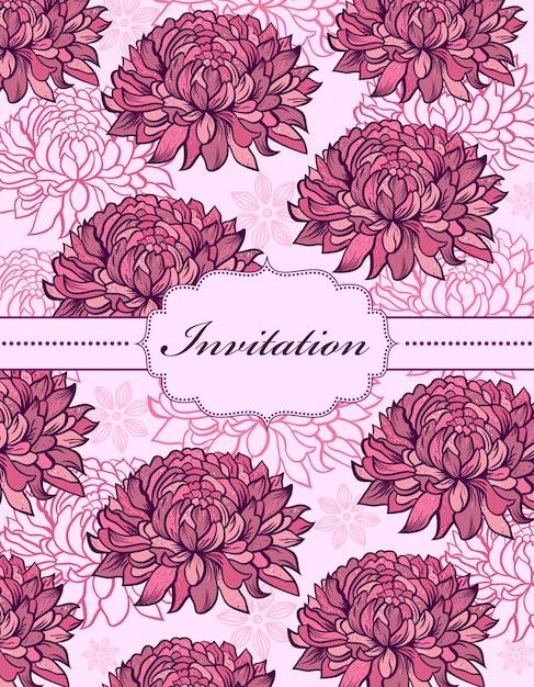Colorful hand drawn floral invitation card Premium Vector