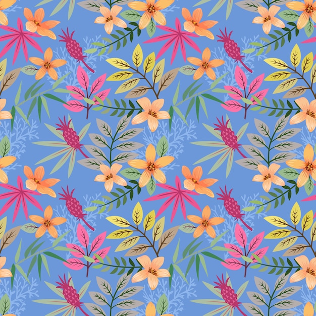 Colorful hand drawn flowers pattern vector design. Premium Vector