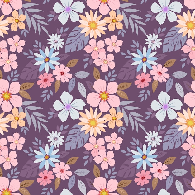 Colorful hand drawn flowers pattern Premium Vector