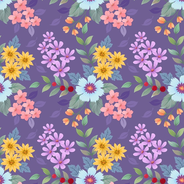 Colorful hand drawn flowers pattern. Premium Vector