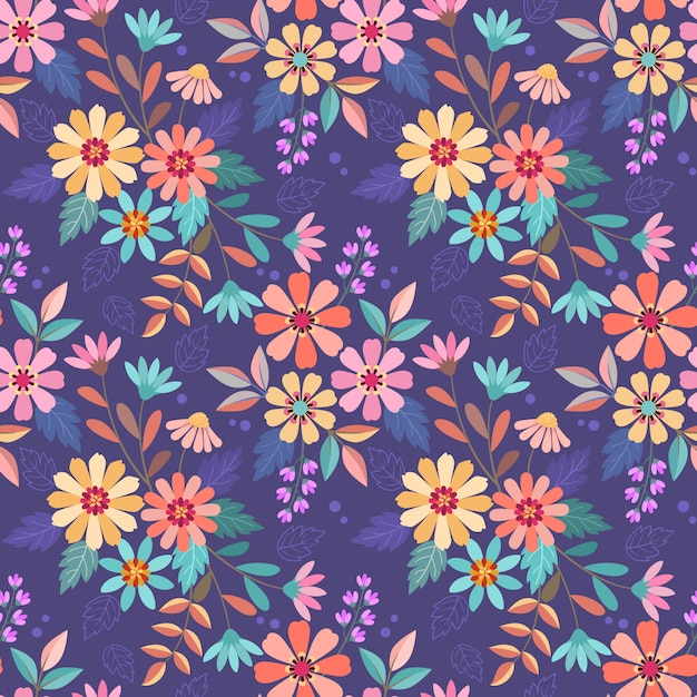 Colorful hand drawn flowers on purple color seamless pattern vector design. can use for fabric textile wallpaper. Premium Vector