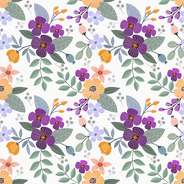 カラフルな手描きの花のシームレスなパターンデザイン。ファブリックテキスタイルの壁紙に使用できます。 Premiumベクター