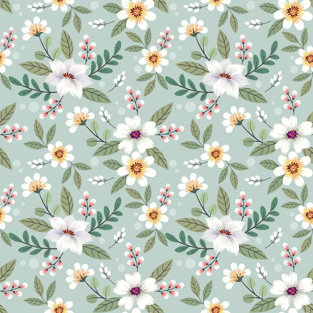 Colorful hand drawn flowers seamless pattern design. Premium Vector