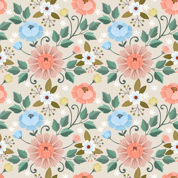 Colorful hand drawn flowers seamless pattern  .  fabric textile wallpaper. Premium Vector